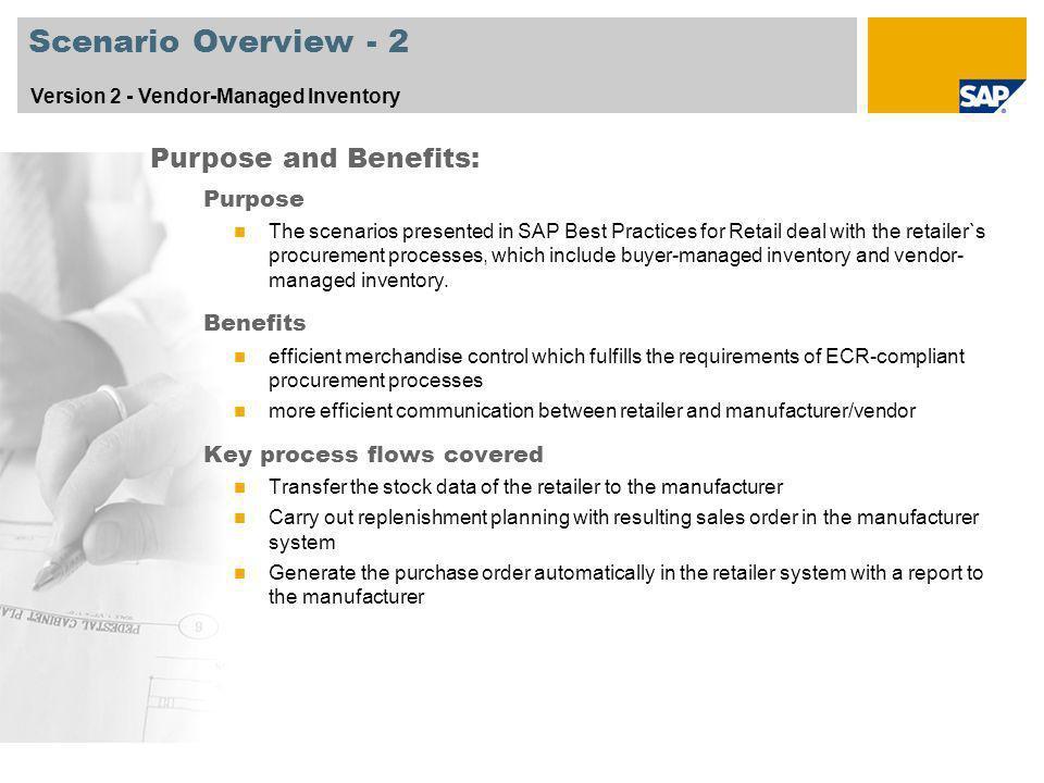 Scenario Overview - 2 Purpose and Benefits: Purpose Benefits