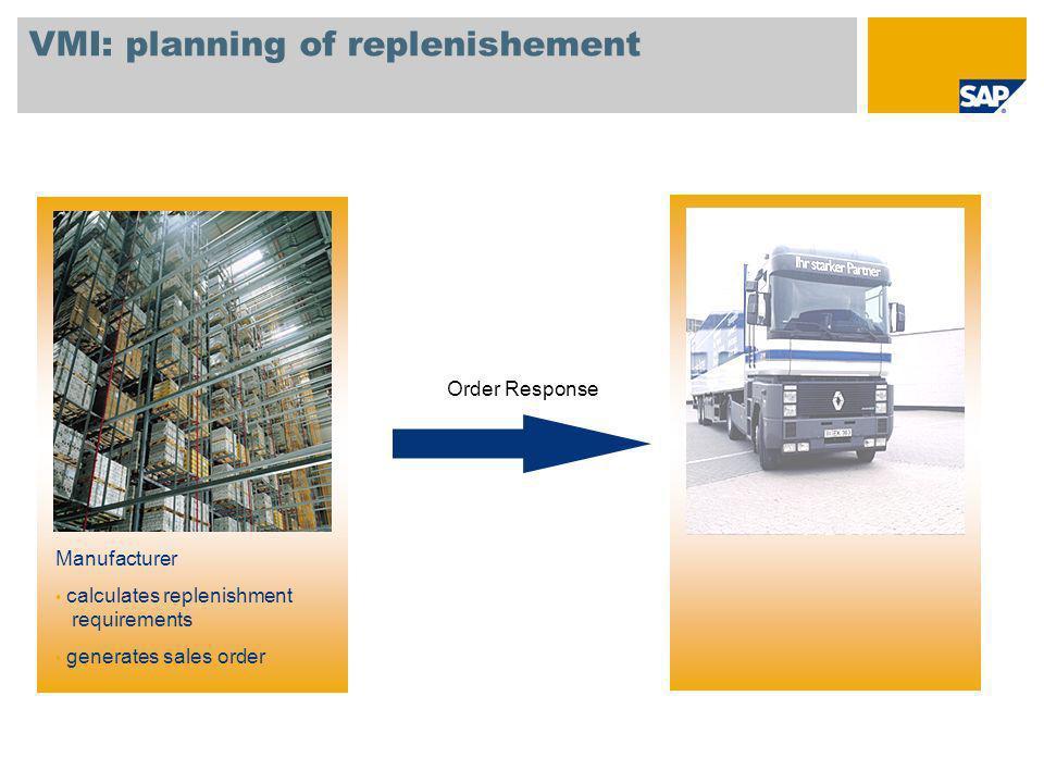 VMI: planning of replenishement