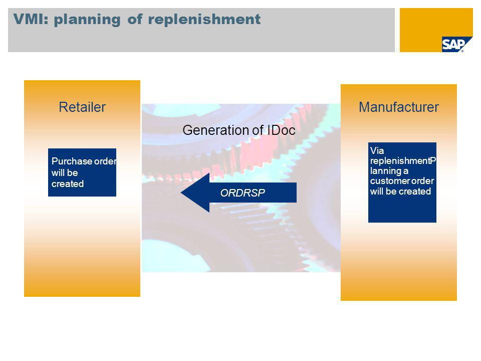 VMI: planning of replenishment