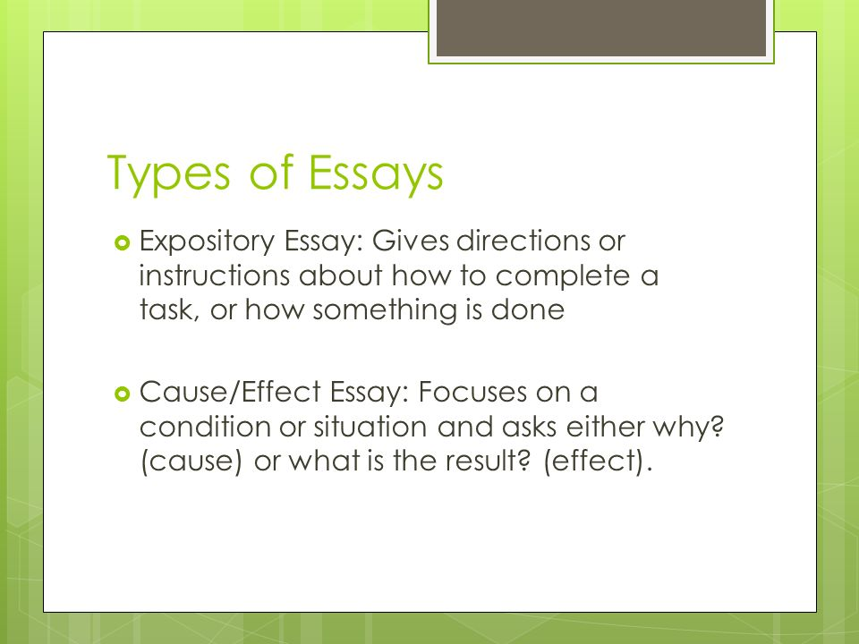 is a cause and effect essay a expository essay In composition, cause and effect is a method of paragraph or essay development in which a writer analyzes the reasons for—and/or the consequences of—an action, event, or decision a cause-and-effect paragraph or essay can be organized in various ways.