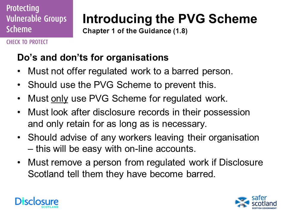 Introducing the PVG Scheme Chapter 1 of the Guidance (1.8)