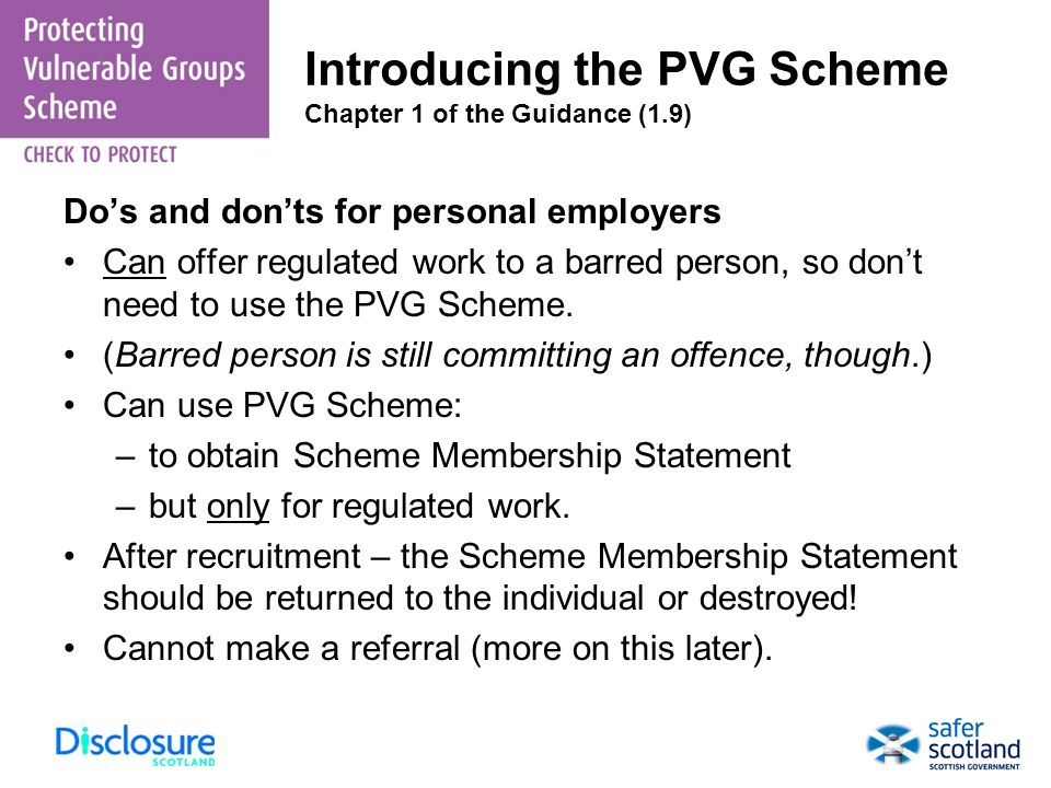 Introducing the PVG Scheme Chapter 1 of the Guidance (1.9)