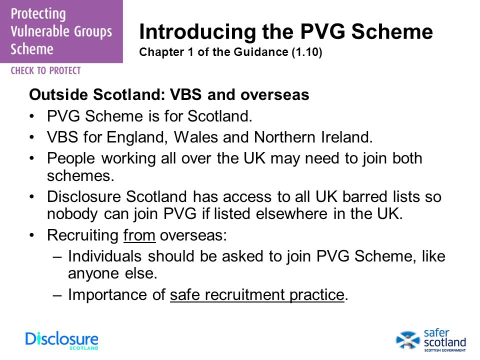 Introducing the PVG Scheme Chapter 1 of the Guidance (1.10)