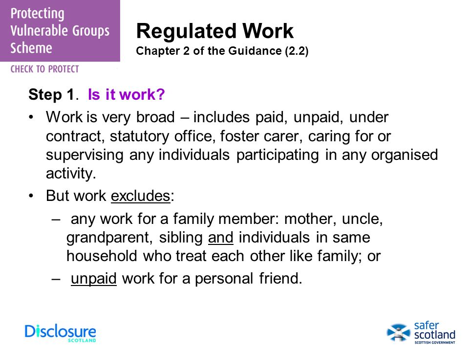 Regulated Work Chapter 2 of the Guidance (2.2)