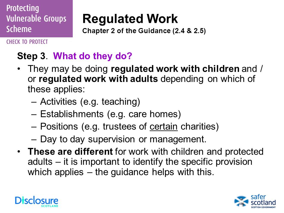 Regulated Work Chapter 2 of the Guidance (2.4 & 2.5)