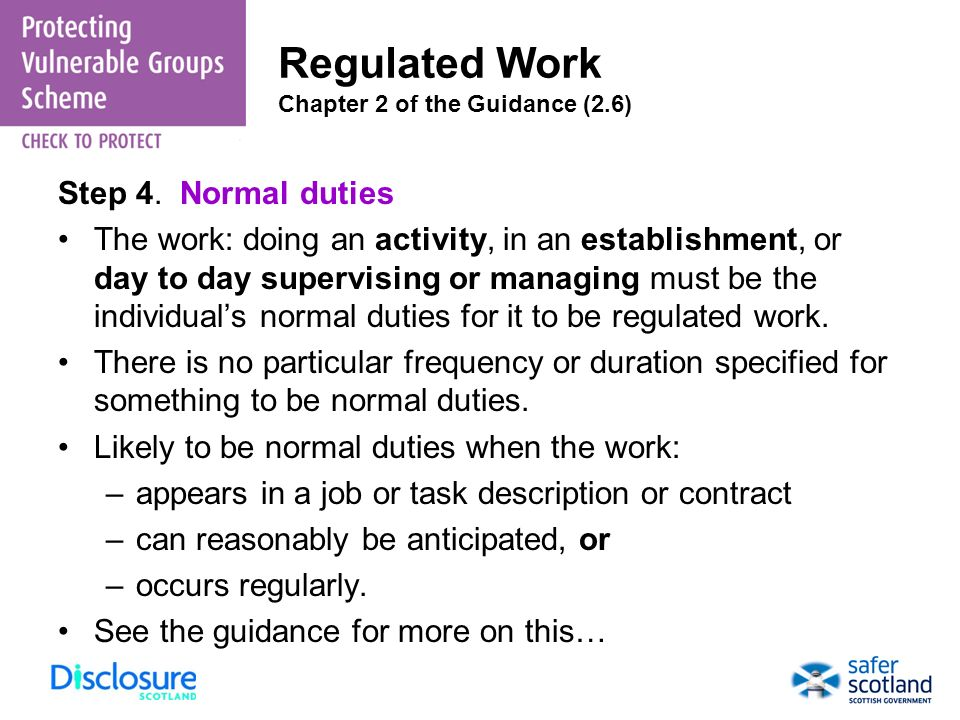 Regulated Work Chapter 2 of the Guidance (2.6)