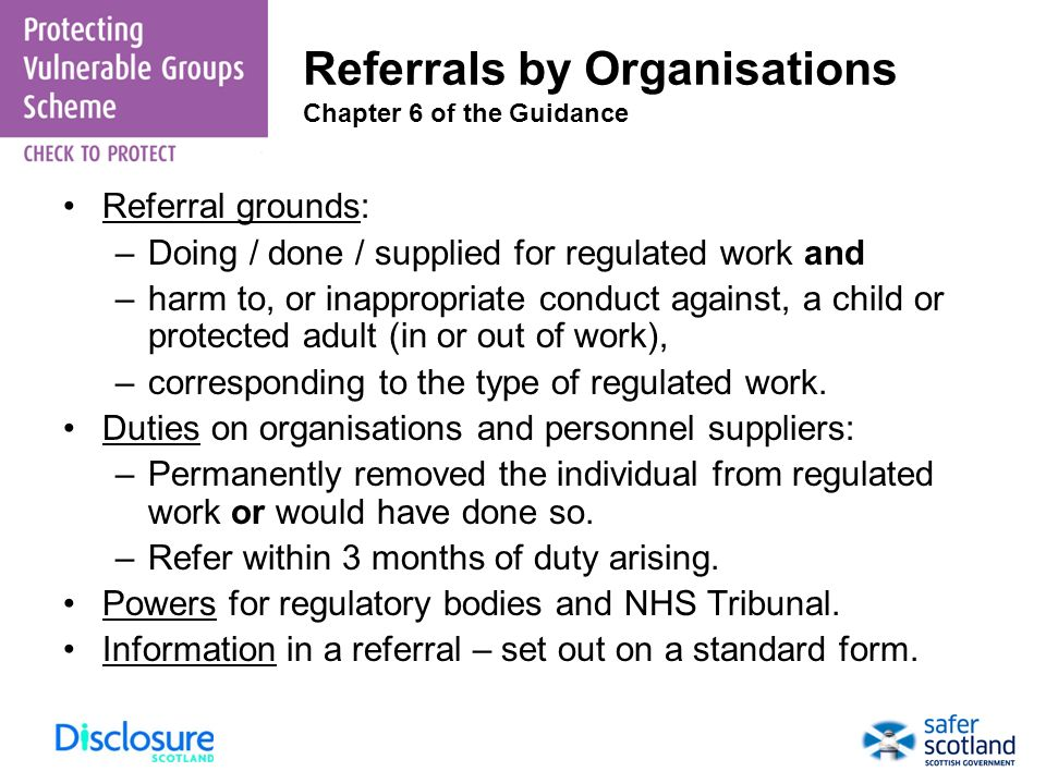 Referrals by Organisations Chapter 6 of the Guidance