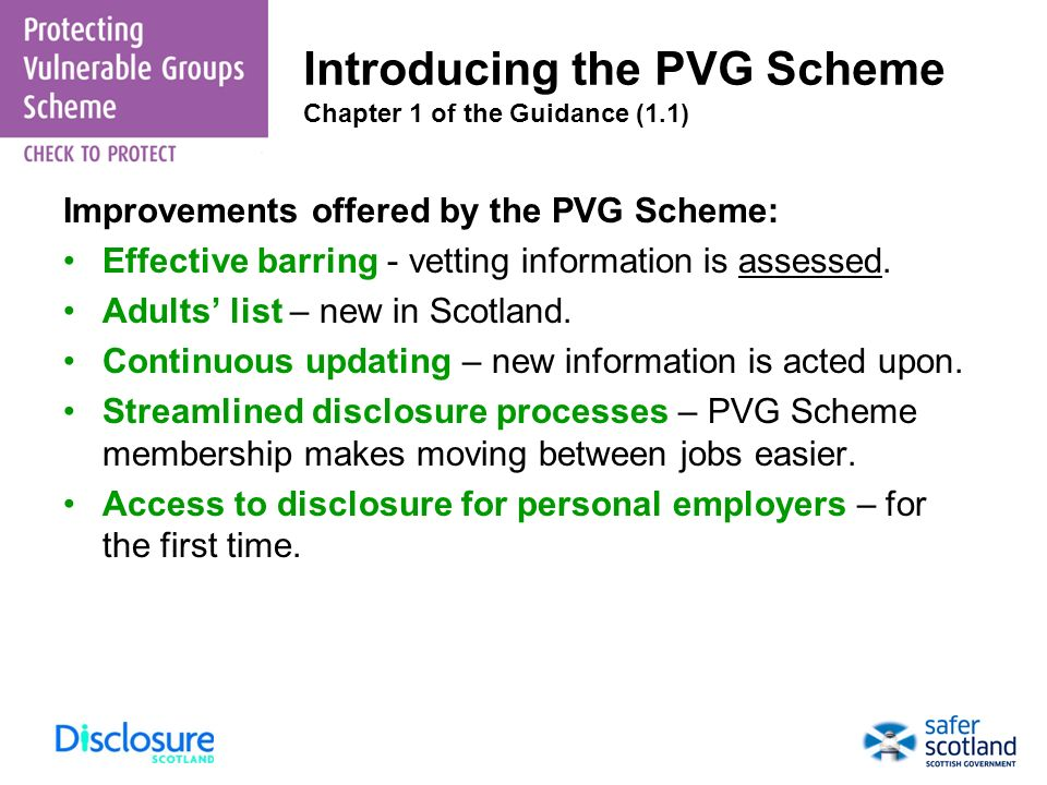 Introducing the PVG Scheme Chapter 1 of the Guidance (1.1)