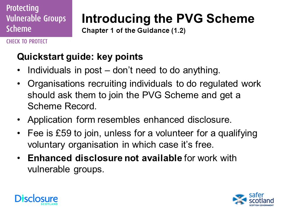 Introducing the PVG Scheme Chapter 1 of the Guidance (1.2)