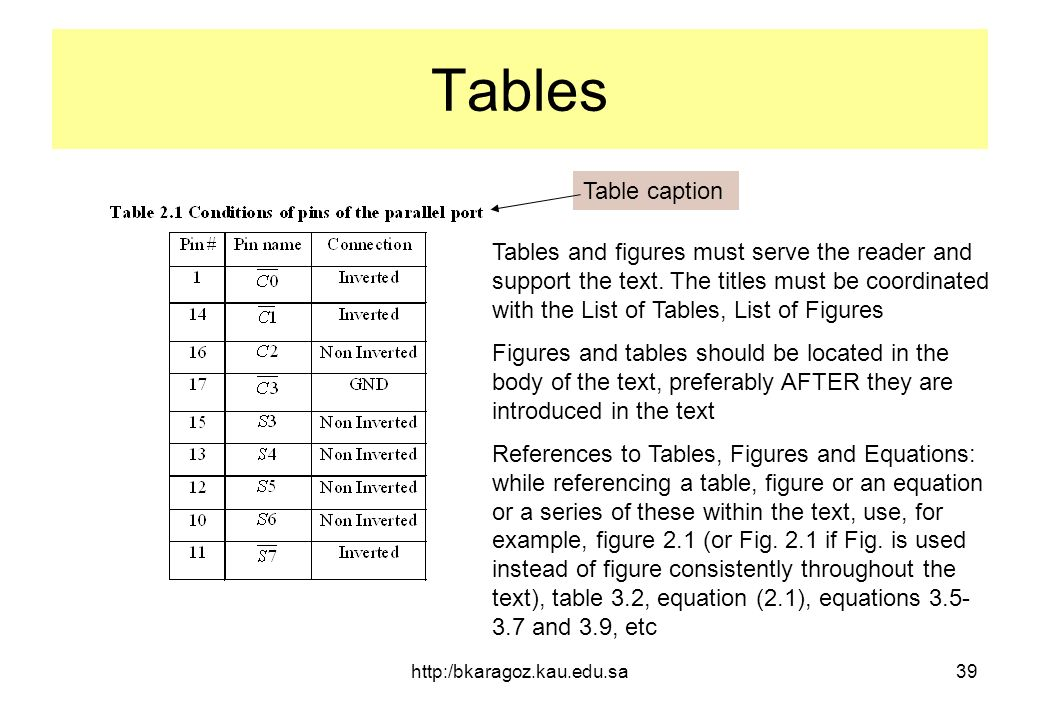 Writing the final report for ee 499 senior projects for Table caption