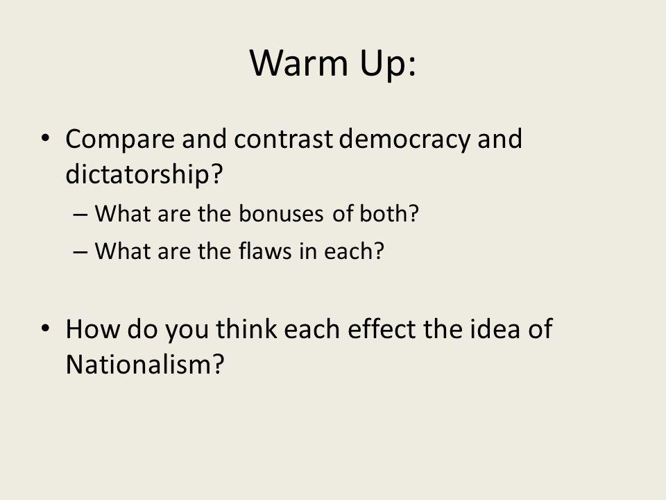 compare and contrast democracy and dictatorship essay Dictatorship essay - custom research purchase compare and contrast essay as the role of democracy vs dictatorship 1 in the dictatorship of a smaller sense.