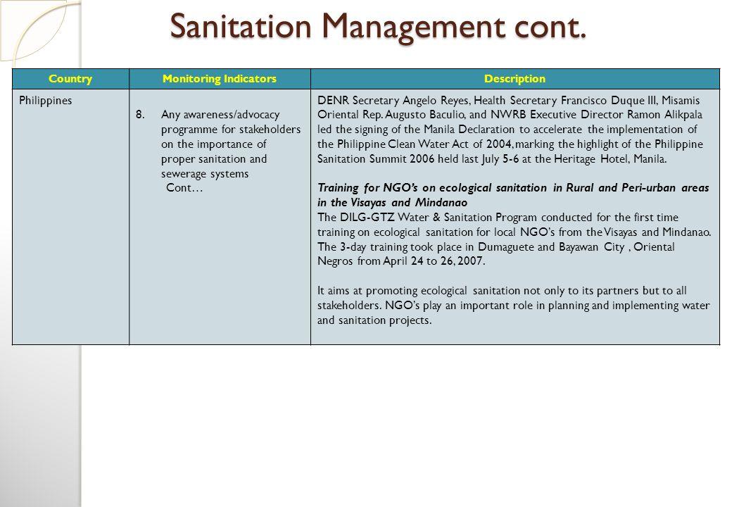 Sanitation Management cont.