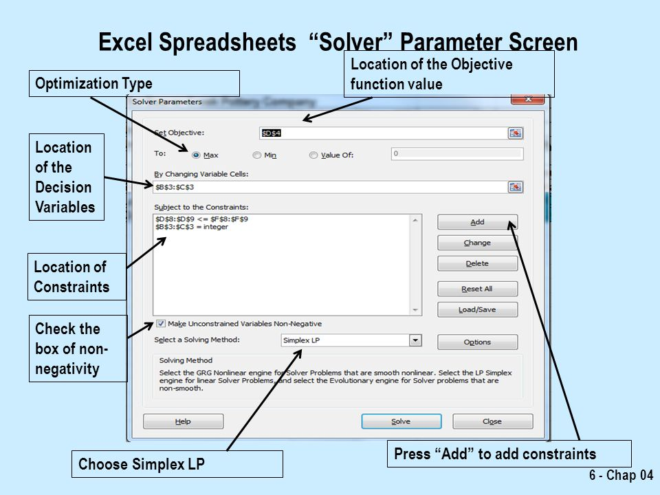 how to create a solver model in excel