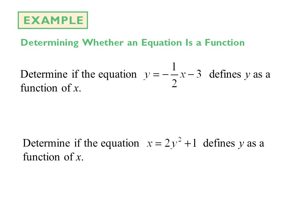 Determine if the equation defines y as a function of x.