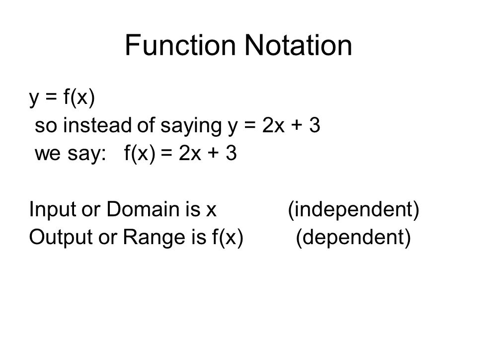Function Notation y = f(x) so instead of saying y = 2x + 3
