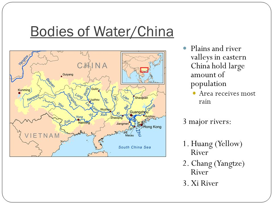 Xi River China Map.East Asia Map Xi River 26217 Infovisual