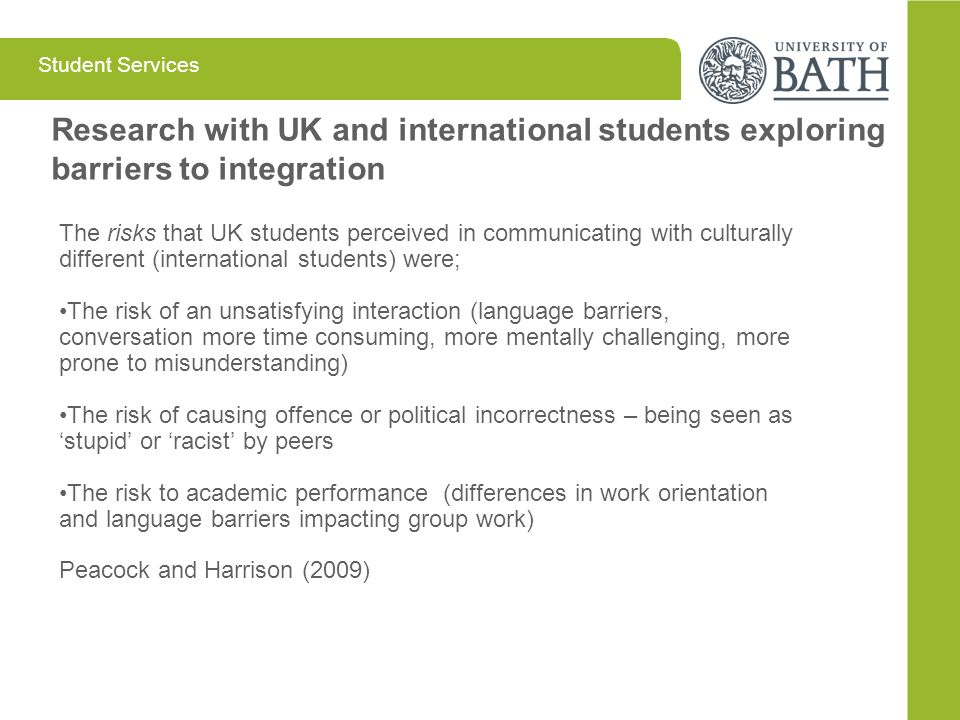 Research with UK and international students exploring barriers to integration