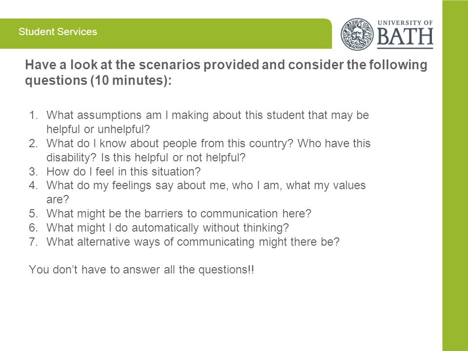 Have a look at the scenarios provided and consider the following questions (10 minutes):