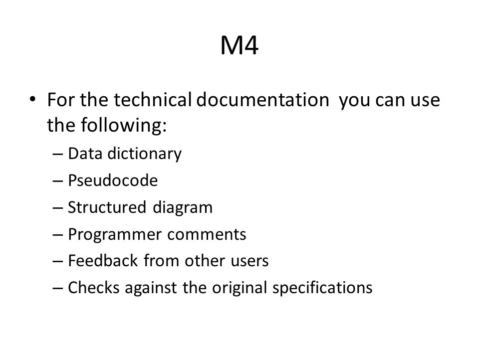 M4 For the technical documentation you can use the following: