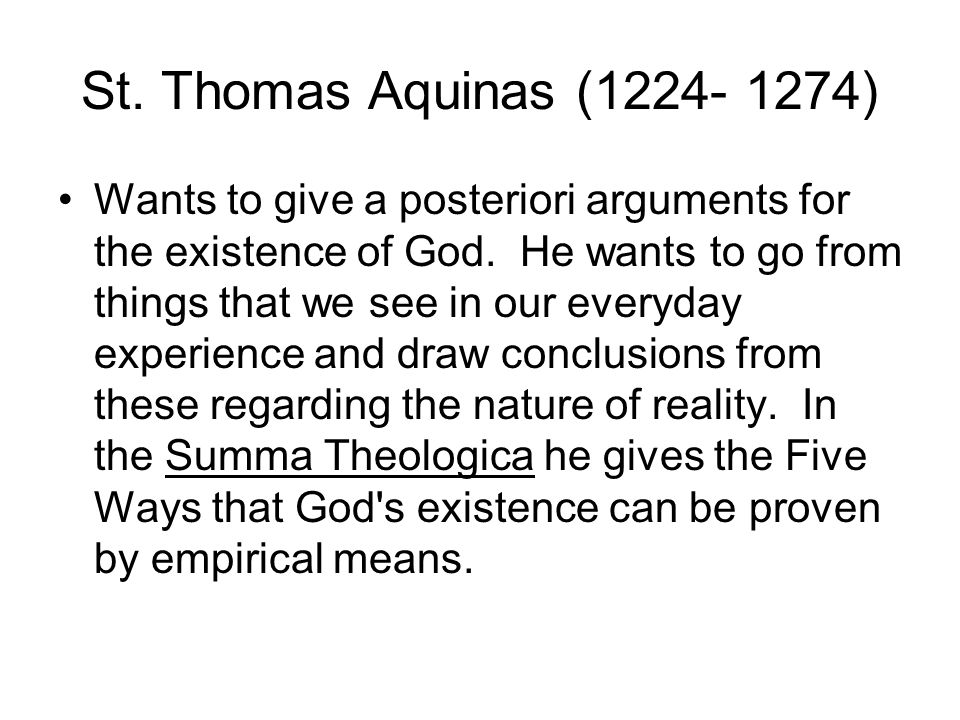 st thomas aquinas citing motion as proof of the existence of god Aquinas in addition to his moral philosophy, thomas aquinas (1225-1274) is   any effort to demonstrate god's existence is, at best, unnecessary (st ia 21   aquinas' response to this argument denies that god's existence is an article of  faith  aquinas cites in these demonstrations include: 1) motion 2) the existence  of.