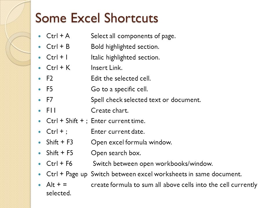 Some Excel Shortcuts Ctrl + A Select all components of page.