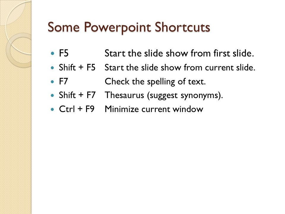 Some Powerpoint Shortcuts