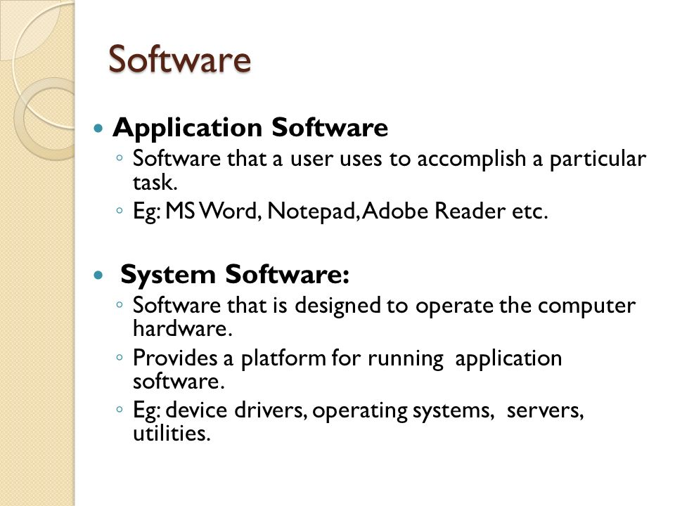 Software Application Software System Software: