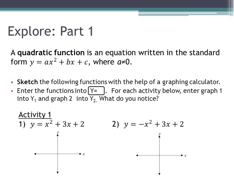 Characteristics of Quadratic Functions - ppt video online download