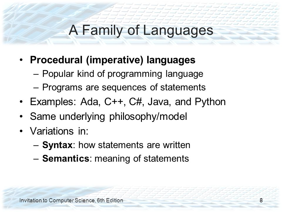 Introduction to high level language programming ppt video online a family of languages procedural imperative languages stopboris Images