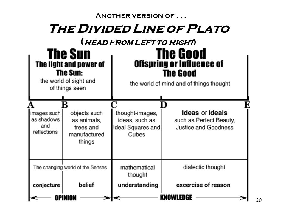 an explanation of platos divided line Plato's analogy of the divided line the four stages of cognition source of perception things perceived modes of perception classes of perception.