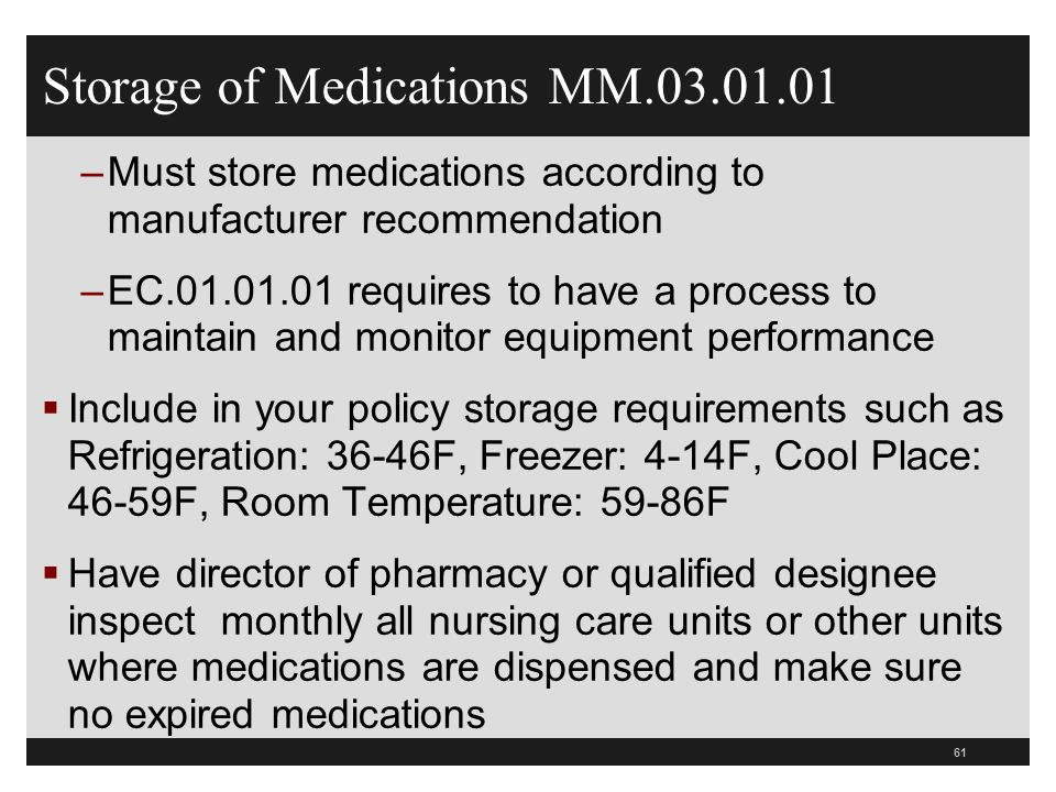 Medication Security And Storage Cms And Joint Commission