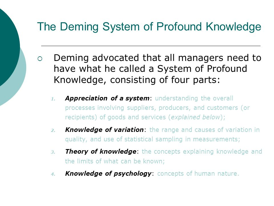 the deming system of profound knowledge William edwards deming: system of profound knowledge an it perspective  who is william edwards deming deming wikipedia article the deming institute.
