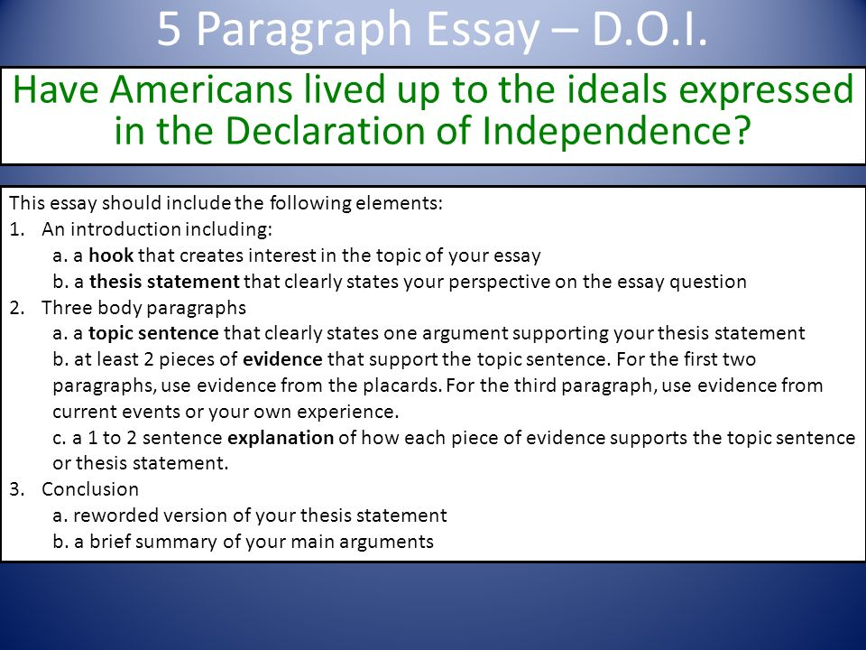 What is the thesis of the Declaration of Independence?