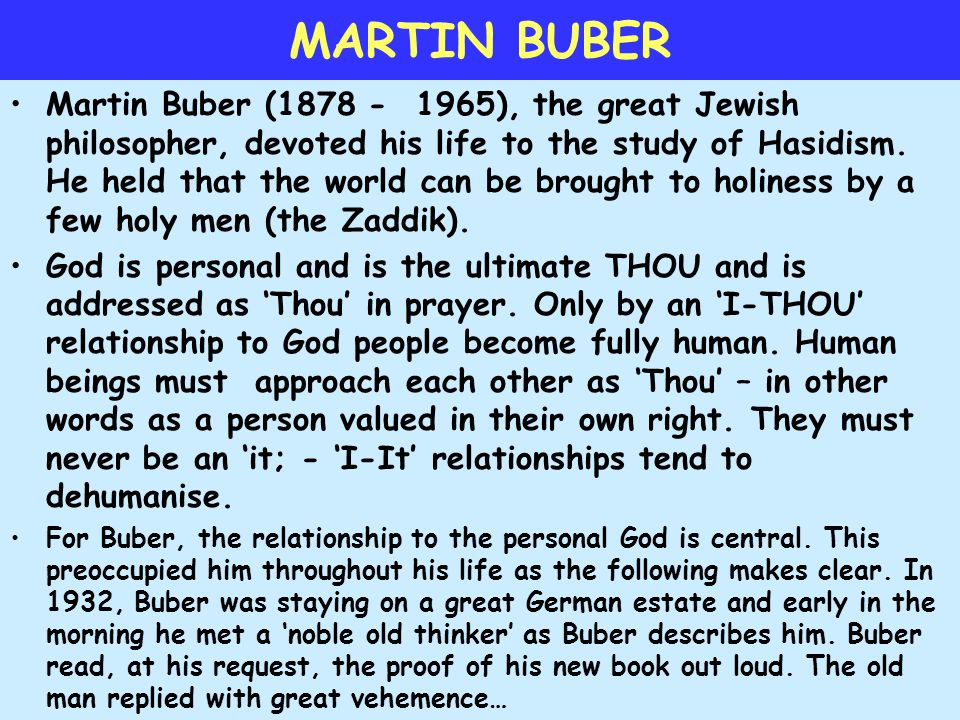 martin buber thou and it relationship