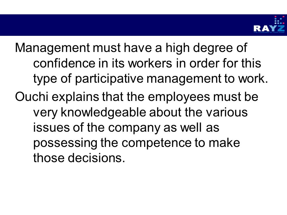 the dilemmas of participative management of A participative leader is always in the mix of what is going on so he is able to help work through issues when they first arise open to suggestion a democratic system of leadership requires the manager to listen to others and consider their ideas.