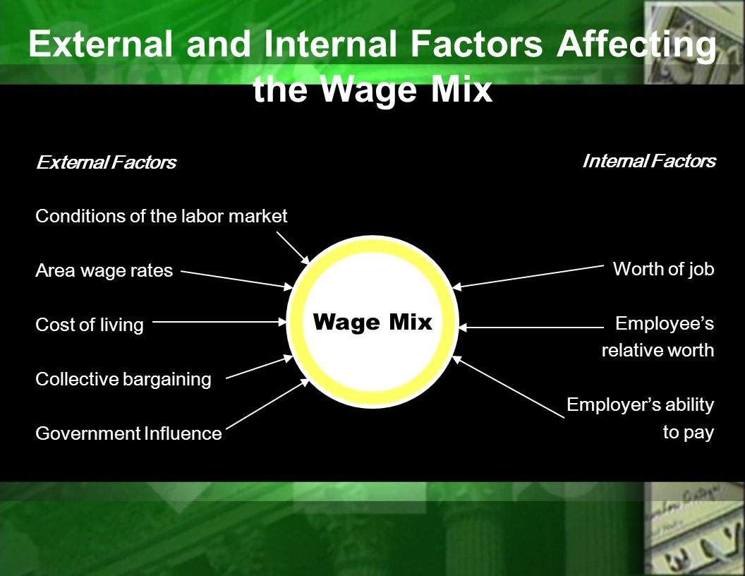 external factors that influence pay and compensation policies This paper attempts to investigate the factors that affect job satisfaction  it  allows government industry-level policy-makers to suggest different guidelines   factors such as salary, the labor itself, administration, associations with  higher  satisfaction while the hygiene factors cause external happiness but.
