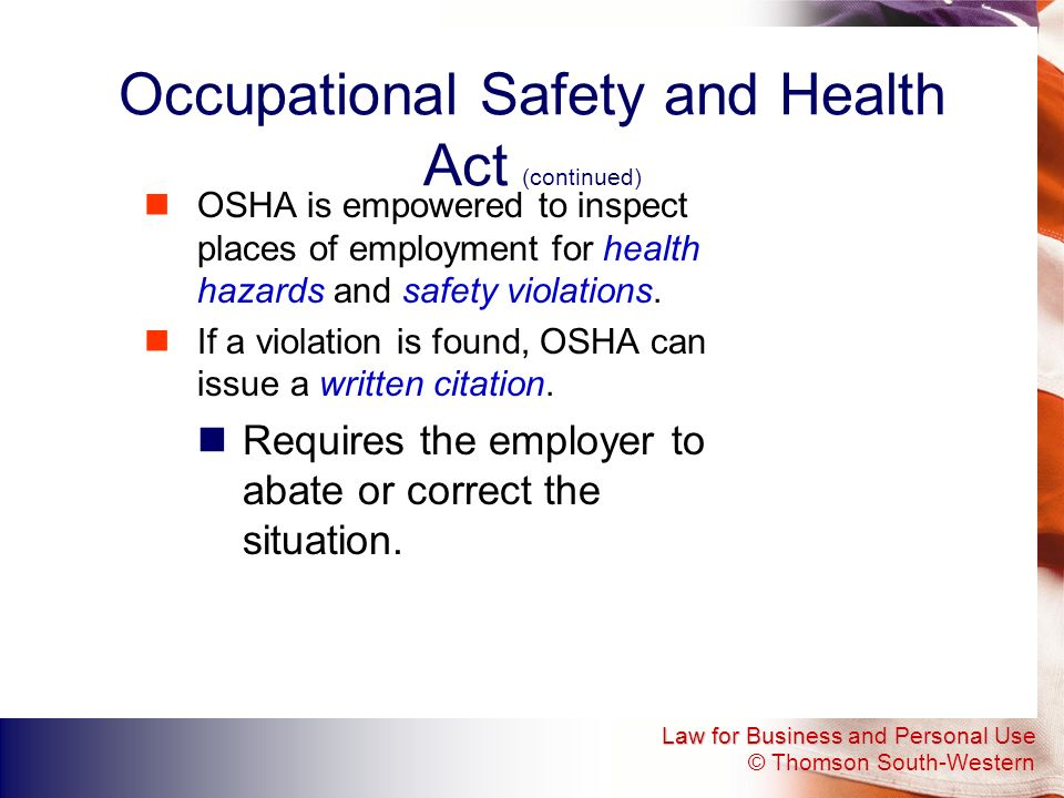 Occupational Safety and Health Act (continued)