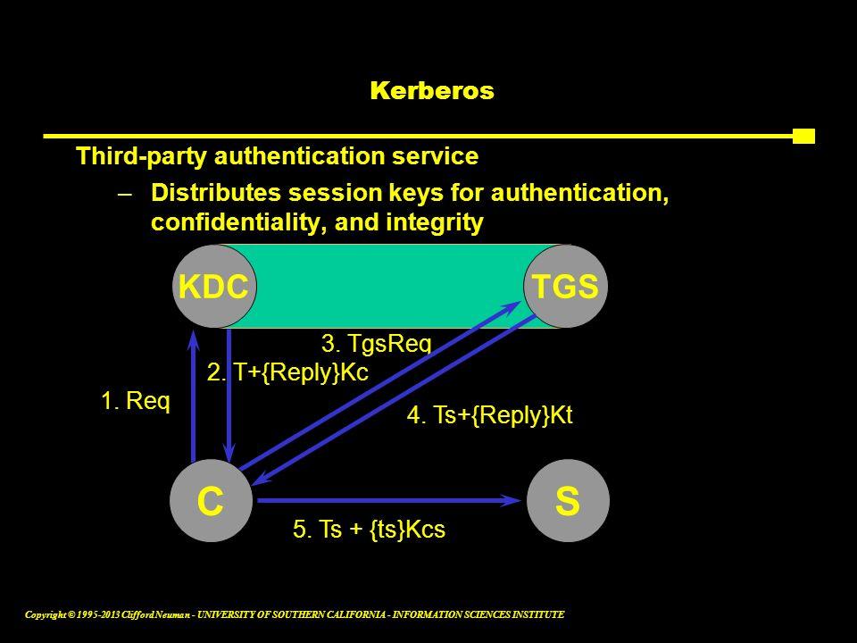 C S KDC TGS Kerberos Third-party authentication service