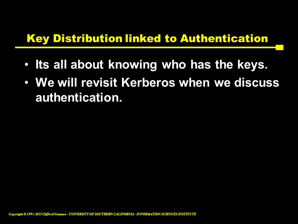 Key Distribution linked to Authentication