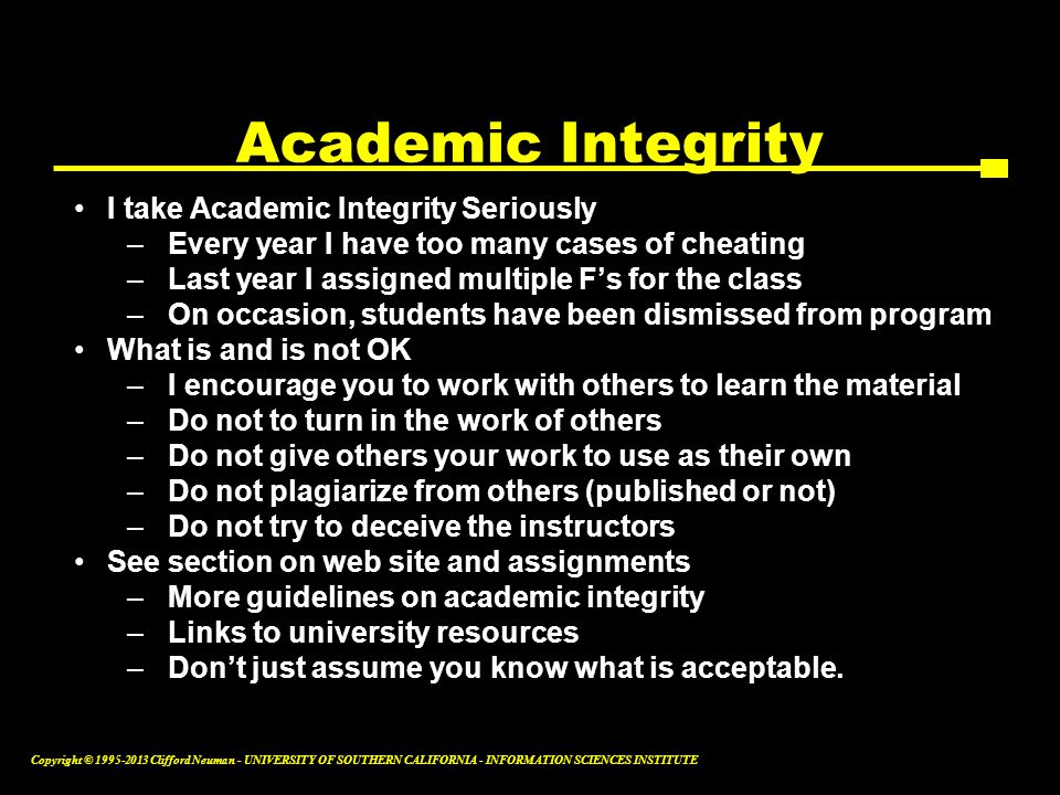 Academic Integrity I take Academic Integrity Seriously