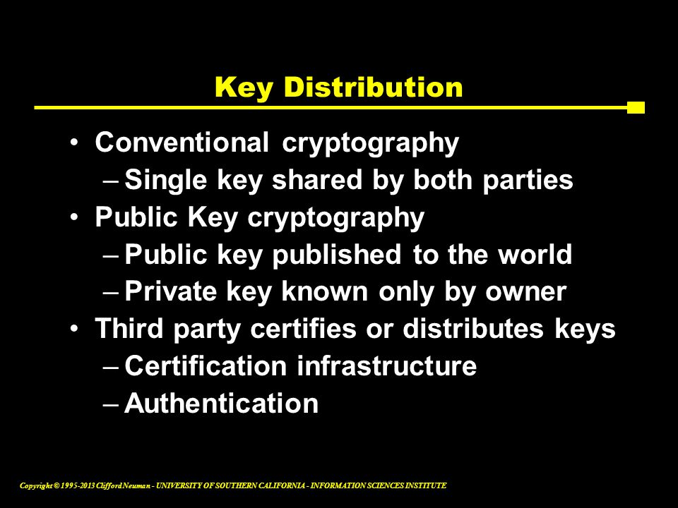 Key Distribution Conventional cryptography. Single key shared by both parties. Public Key cryptography.