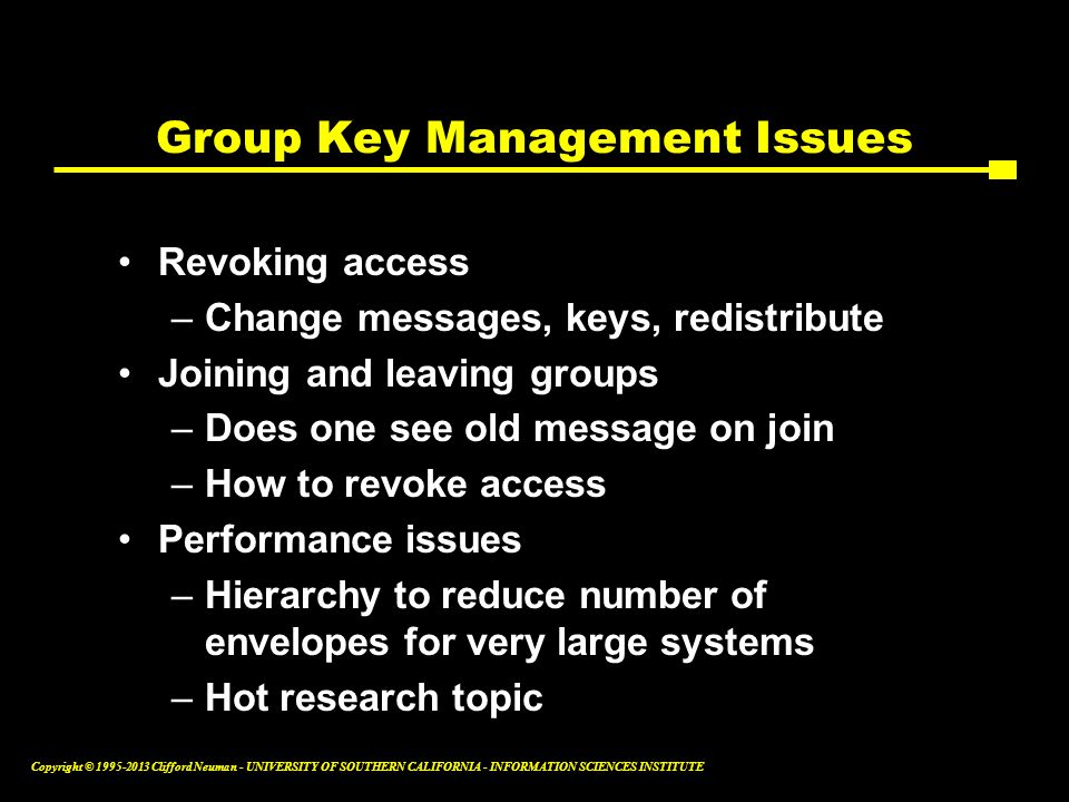 Group Key Management Issues