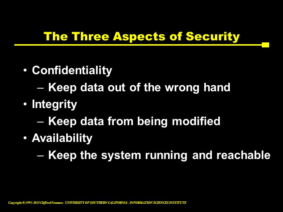 The Three Aspects of Security