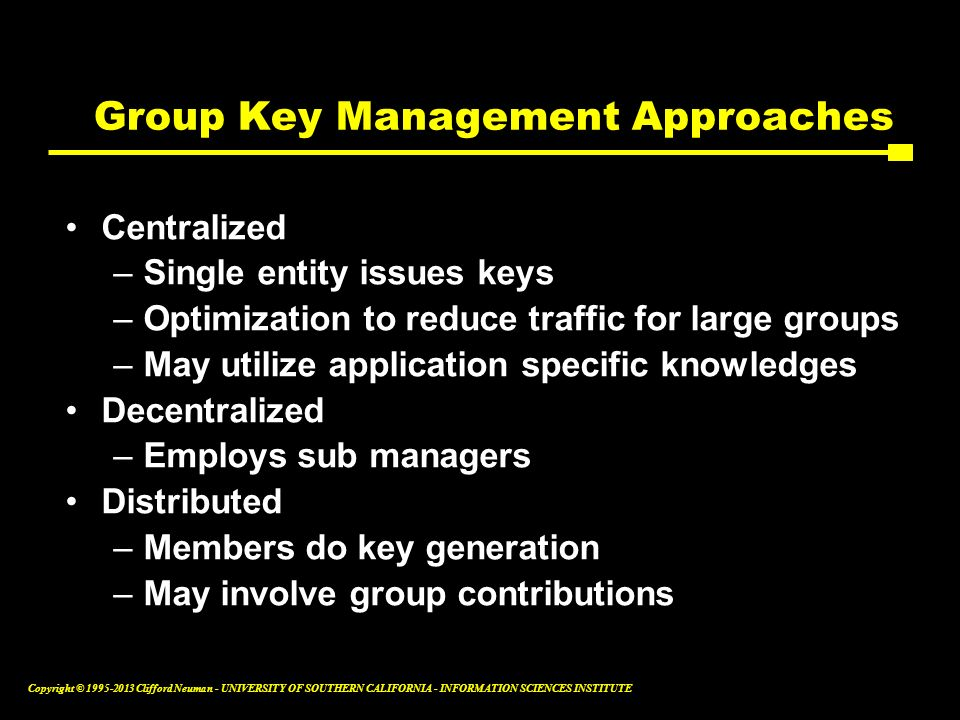 Group Key Management Approaches