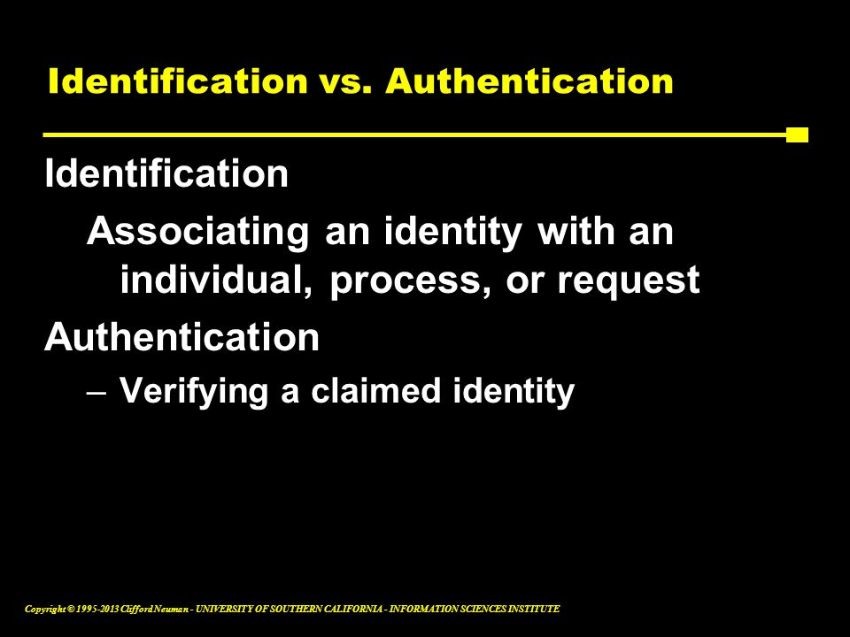 Identification vs. Authentication