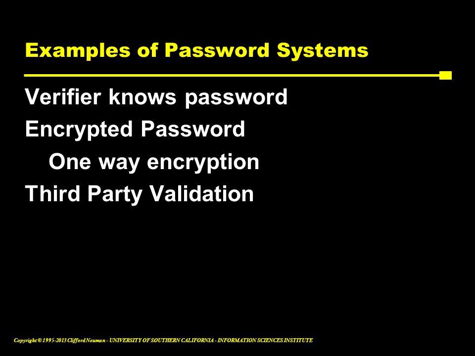 Examples of Password Systems