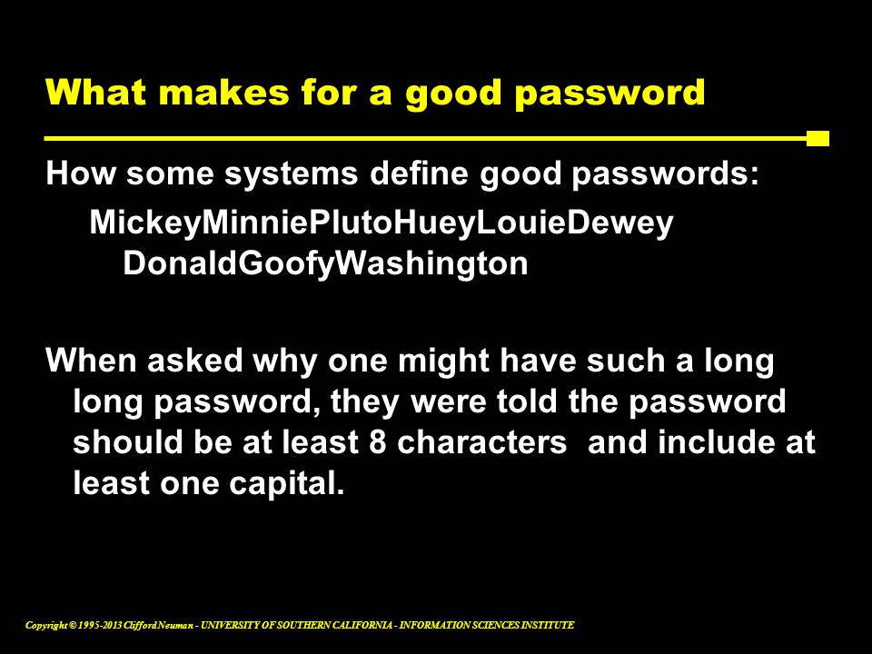 What makes for a good password