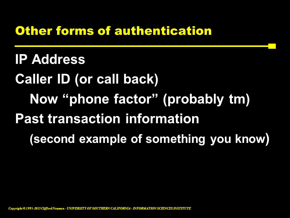 Other forms of authentication