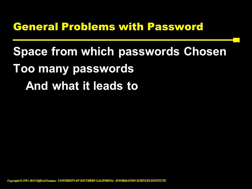 General Problems with Password