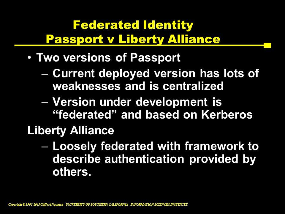 Federated Identity Passport v Liberty Alliance